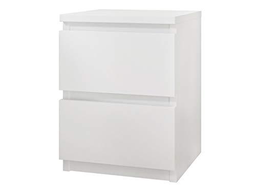 Nachttisch Malwa M2 mit 2 Schubladen, Nachtkonsole, Nachtschrank, Nachtkommode, Beistelltisch, Schlafzimmerkommode, Schlafzimmer Set (Weiß)