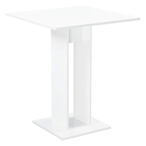 [en.casa] Mesa de Comedor Lindesnes 65 x 65 x 78 cm Mesa de Cocina o Salón Cuadrada Mesa de Bar Mesa de Bistro Blanco Alto Brillo