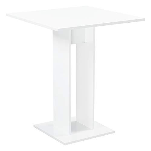 [en.casa] Küchentisch Quadratisch 65 x 65 x 78 cm Säulentisch Esszimmertisch aus Spanplatte Speisetisch Tisch Weiß Hochglanz