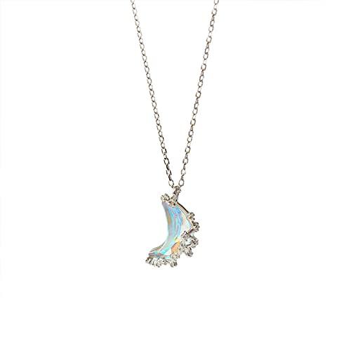 YHHZW Collar Moda 925 Plata Esterlina Cristal Luna Encanto Collar Cadena De Eslabones Colgante Joyería para Mujeres Gargantilla De Boda