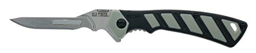 Old Timer 7.7in S.S. Replaceable Blade Knife with 3.2in Scalpel Blade and TPE Handle for Outdoor, Hunting and Camping