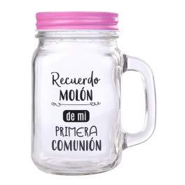 DISOK Jarra Cristal con Caña Recuerdo Molón Color Rosa - Jarras con Frases, Tazas Originales para Detalles, Recuerdos y Regalos de Comuniones (Precio unitario) (Rosa)
