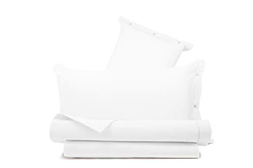Juego de sábanas 100% algodón liso fabricado en Italia para cama de matrimonio blanco