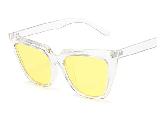 ODNJEMSD Large Frame Cat-Eye Sunglasses Metal Hinged Transparent Sunglasses