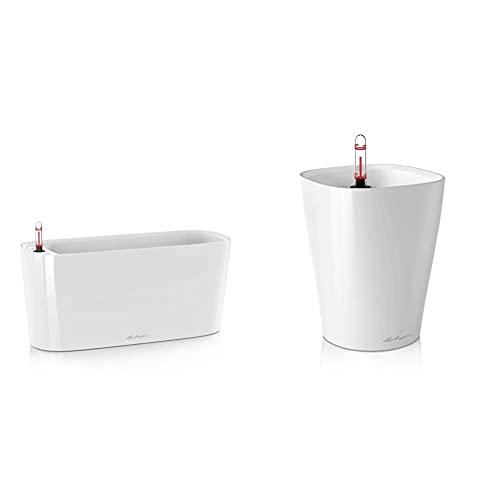 Lechuza Delta 20 Set Completo Vaso in Resina per Piante - Bianco lucido & Premium Deltini 14cm, Bianco Laccato Auto Watering zigrinata Orchid Planter Pot