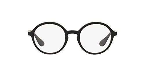 Ray-Ban RX7075 Round Prescription Eyeglass Frames, Rubber Black & Black/Demo Lens, 49 mm