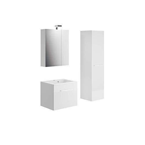 Allibert Badmöbel Set Unterschrank 60 cm Waschtisch Spiegelschrank Seitenschrank vormontiert