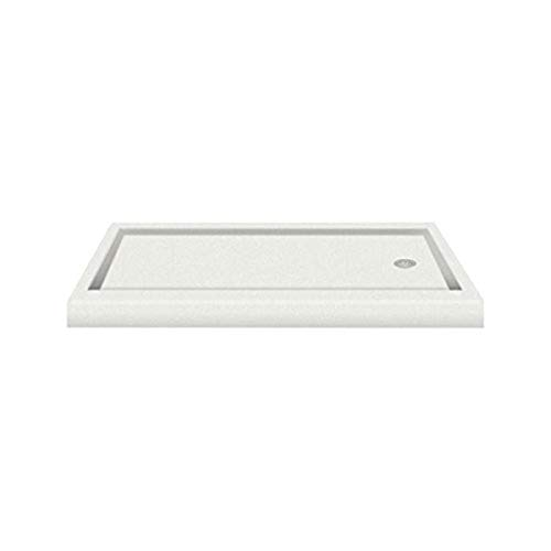 "Transolid PAN3260R-A8 60"" x 32"" Decor Solid Surface Right-Hand Shower Base in Matrix White"