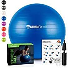 URBNFit Exercise Ball (Multiple Sizes) for Fitness, Stability, Balance & Yoga Ball - Workout Guide & Quick Pump Included -...