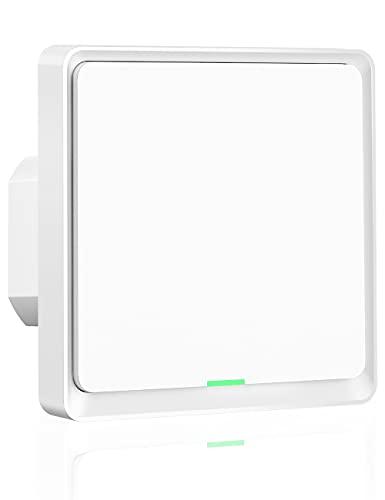 Interruptor de Luz WiFi, Maxcio Interruptor Inteligente 1 Gang Control de APP, Compatible con Alexa Echo y Google Home, Interruptor Pared WiFi con Temporizador, Neutro Requerido