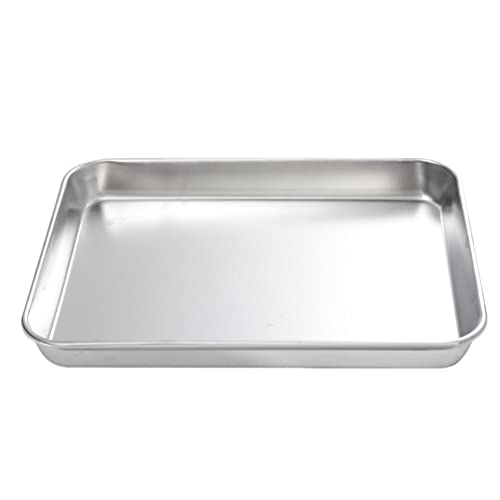 HEMOTON Stainless Steel Baking Sheet Cookie Baking Pan Nonstick Roasting Pan Toaster Oven Baking Tray Plate for Barbeque Grill Food Serving 26X20CM