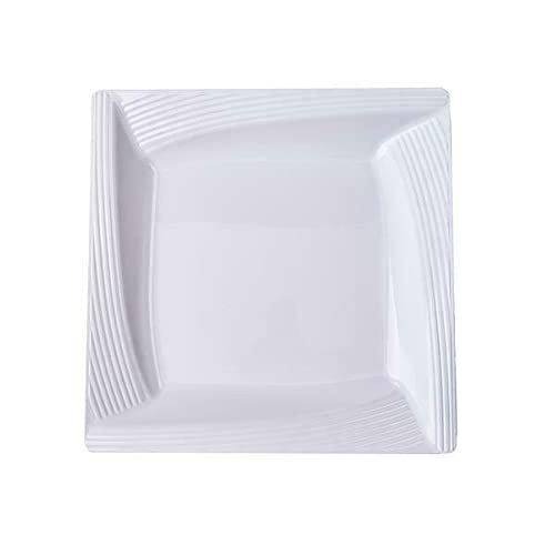 10' White Square Salad Plates with Ridge Rim Party Events Disposable Tableware