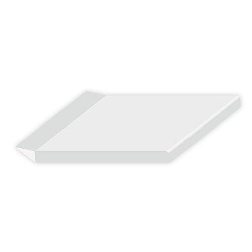 6 Meter DIWARO Kunststoff Flachleiste weiß selbstklebend mit Dichtlippe, Breite 50 mm, Dicke 2,5 mm. Für Fensteranschluss, Abdeckleiste, Fensterleiste und Mauerwerksanschluss.