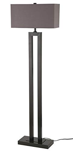 Stone & Beam Modern Metal Cut-Out Living Room Standing Floor Lamp With Light Bulb - 19 x 8 x 59.5 Inches, Earth Tone Shade
