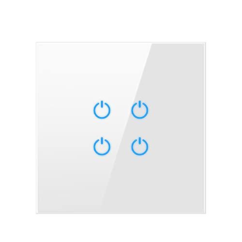Yoaodpei Panel de Interruptor táctil de 86 Tipos Panel de Vidrio Templado táctil Inteligente Blanco para el hogar con Interruptor táctil de Punto Fluorescente