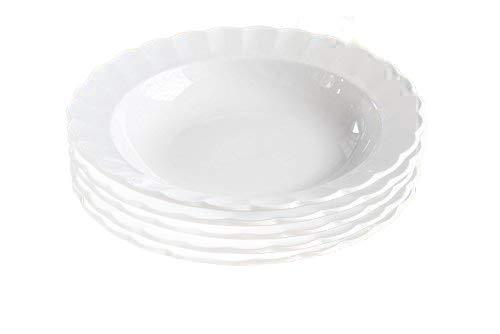 5枚セット【白い食器】花のフォルム われにくい強化磁器 TIARA ティアラピュアホワイト フリル パスタ スープ カレー 皿 23cm しろい おしゃれ 可愛い 白い ホワイト 白い器 白い食器 白い陶器 高級白磁