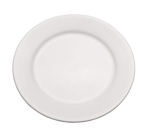"""Chef Expressions 12"""" Round Dinner Plate, Restaurant Quality, Vitrified Bright White Porcelain, Wide Rim, Rolled Edge (Case of 6)"""