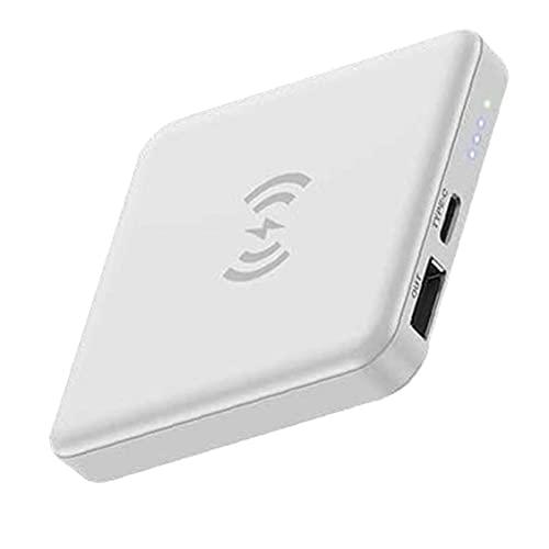 Odoukey Paquete de batería Externa Power Bank Mini Banco 5000mAh Cargador de teléfono inalámbrico con el imán Mancha Blanca