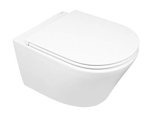 Set oltens Jog Schüssel Wand-WC PureRim mit SmartClean-Beschichtung und Soft-Close-Sitz Slim 42505000, weiß