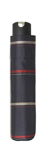 doppler Taschenschirm Carbonsteel Mini Woven Check – Extrem stabil – Karo Design – Schwarz