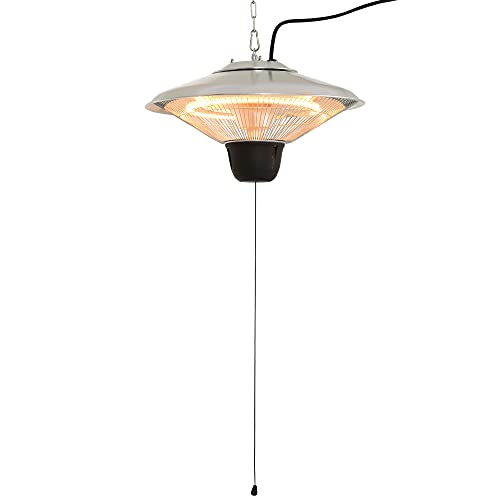 Outsunny 1500W Patio Heater Outdoor Ceiling Mounted Aluminium Halogen Electric Hanging Heating Light Pull Switch Control