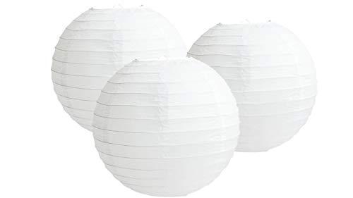 Lot de 3 lanternes en papier pour fête d'anniversaire, fête prénatale, mariage, blanc, 10\
