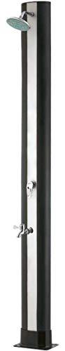 SIQUA Ducha Solar Negra de Exterior con Forma Curvada y Grifo lavapies. Fabricada en PVC y Acero Inoxidable. 2 m de Altura