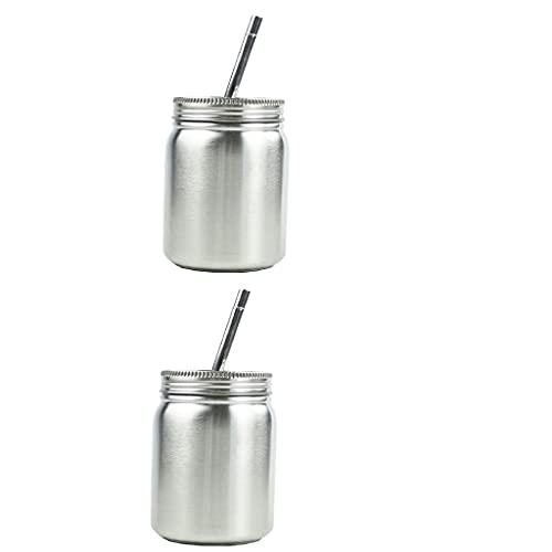 perfk 2X Tarro de Cristal Irrompible de Acero Inoxidable con Tapas + Vaso para Beber con Pajitas