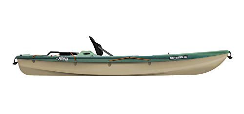 """Pelican Sit-on-Top Kayak - Sentinel 100X - 9.5 Feet - Lightweight one Person Kayak 2 A multi chine flat bottom hull ensures the stability needed when casting lines and reeling in fish. Measuring 9'6"""""""" and weighing only 44 lb, the SENTINEL 100X ANGLER is incredibly easy to transport and store Made using our patented Ram-X materials, the SENTINEL 100X ANGLER will be around for years of exciting experiences."""