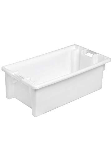 Denox DEN160 Caja de ordenación apilable y encajable 60 litros, Blanco, 60 L