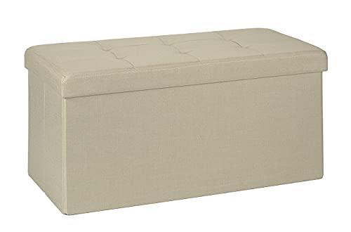 D&D Quality Puff Almacenaje Plegable, Asiento Acolchado, 76 x 38 x 38 cm - Exterior Estilo Lino - Carga Máxima de 300 kg (Beige)