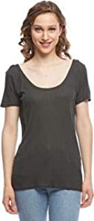 Shana Grey Round Neck Blouse for Women