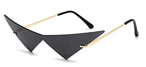 WANGZX Gafas De Sol Sin Marco Triangulares De Moda Lentes De Ojo De Gato para Mujer Gafas De Gran Tamaño Gafas De Sol Transparentes para Hombre C1Black