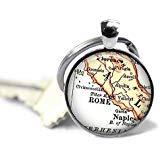 Llavero con mapa de Roma, Italia, llavero italiano personalizado, Nápoles, Florencia, regalo personalizado, idea de regalo, llavero de Italia, regalo de cumpleaños