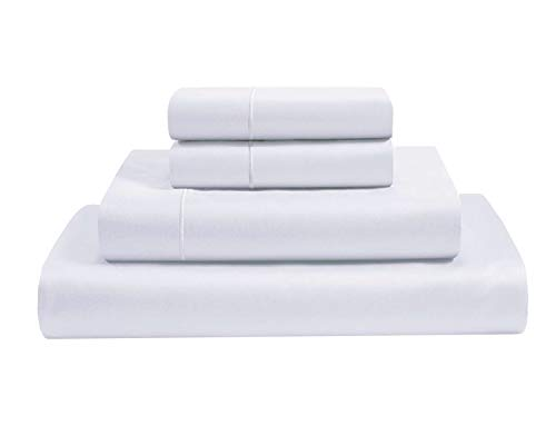 Clay Bedding Fitted Sheet And Pillowcase Set- 35 Cm Deep Fitted Sheet Set-King Size Bed Sets With Fitted Sheet -3 Pcs 1 Fiited & 2 Pillowcases Set White
