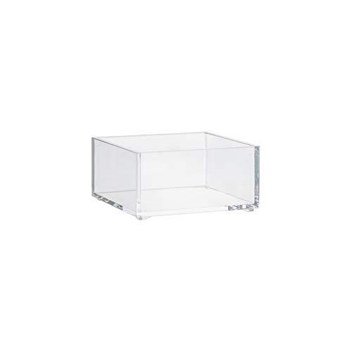 Plateau de rangement carré - 20 x 20 x 4,8 cm - Polystyrène transparent