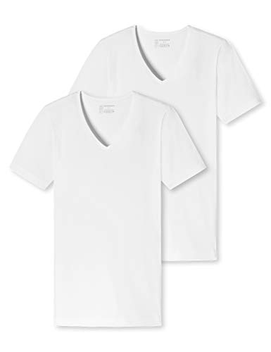 Schiesser Herren Unterhemd Shirt 2er Pack Organic Cotton V-Ausschnitt - 95/5, weiß, L