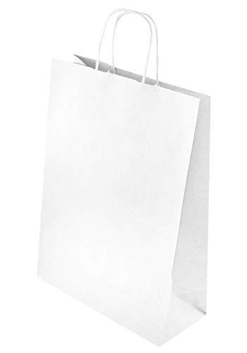 25 STK Öko - Papiertasche mit gedrehten Papiergriffen 240x100x320 weiß Recycelbar Und Wiederverwendbar Mit Gedrehten Griffen Einkaufen Einzelhandel mittel weiß a4 24x10x32 cm
