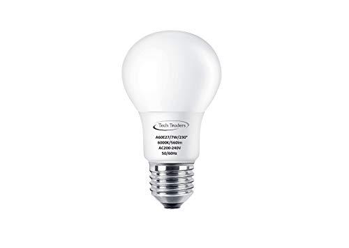 Tech Traders - Ampoules LED à vis E27, 7 W équivalent 70 W, blanc chaud (3000 K) et blanc froid (6000 K), grande brillance 56 lm, économie d'énergie, Cool White 7W(6000K), e27, 7.00W 240.0V