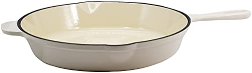 Cuisinart Open Round Cast Iron Skillet, 11.75 Inch, Cream