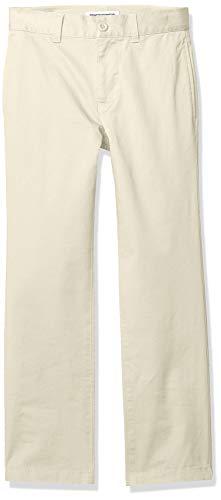 Amazon Essentials Straight Leg Flat Front Uniform Chino Pant Pants, Caqui Claro, 14(H)