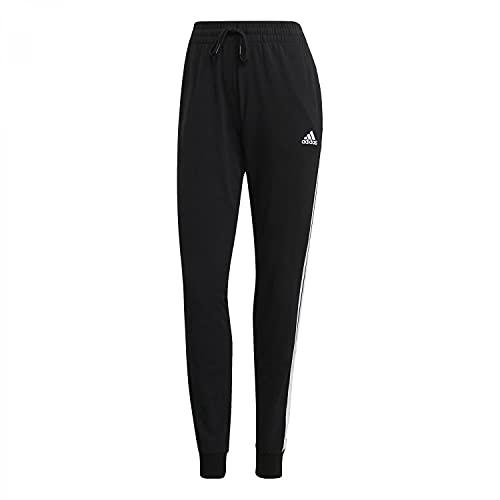 adidas Essentials Slim Tapered Cuffed, Pantaloni della Tuta Donna, Nero Bianco, M