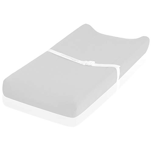 """Flannel Changing Pad Cover – Fits Perfectly on 16 x 32"""" Changing Table Pad – 100% Cotton – Perfect for Winter & Cold Weather – Light Grey"""