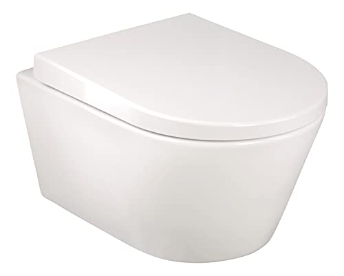 aquaSu® Spülrandloses Wand-WC in weiß | Inklusive WC-Sitz | Verkürzte Ausladung: 48 cm | schmutzabweisende Clean-Beschichtung | Tiefspüler | Abgang waagerecht | Hänge-Toilette | Wandmontage | 57232 3