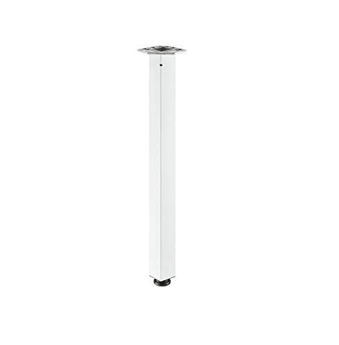 Gedotec meubelvoet metaal wit gecoat tafelpoot in hoogte verstelbaar +25 mm tafelvoet hoekig - model H1870 | hoogte: 705 mm | draagkracht tot 100 kg | profiel 60 x 60 mm | 1 stuk