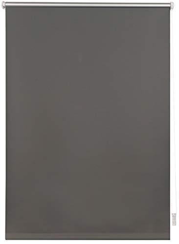 Thermo-Rollo nach Maß ohne Bohren mit Klemmträger Verdunkelungsrollo Seitenzugrollo Klemmrollo Blackout Silberbeschichtung Klemmfix Dunkelgrau B: 41-50 cm, L: 40-160 cm
