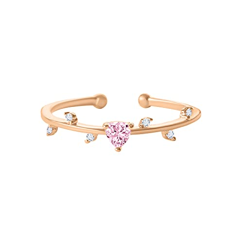 ONDAISY 14K Rosegold Plated Open Mystic Dallas Hip Hop Cut Candy Dainty Love Pink Cz Heart Twig Ring