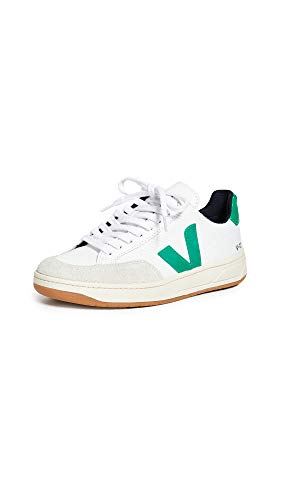 Veja Women's V-12 Sneakers, White/Emeraude, 9 Medium US