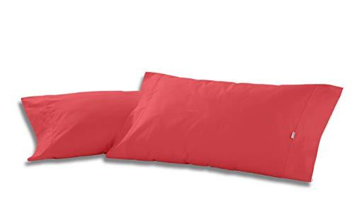 ESTELA - Funda de Almohada Combi Liso Color Rojo - 2 Piezas de 45x85 cm - 50% Algodón-50% Poliéster - 144 Hilos