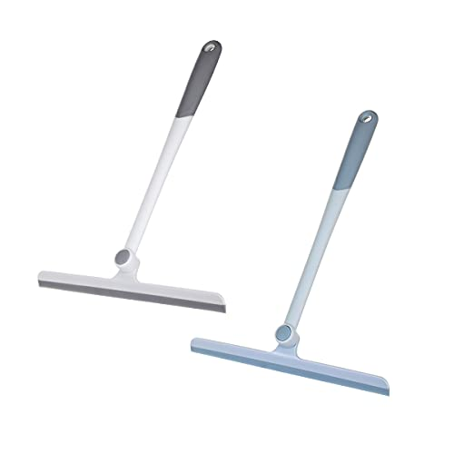 CLEACE Shower Squeegee Silicone Glass Window Squeegee with Non-Slip 13 Inch Long Handle for Shower Doors, Bathroom, Windows, Kitchen, Mirror and Car Glass Grey&Blue(2pcs)